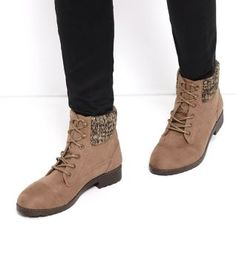 £18 - Soft finish- Lace up fastening- Knitted cuff- Cleated sole