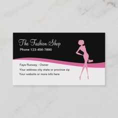 Fashion Apparel Shop Business Card Stylish and trendy fashion boutique business card design in pink, black, and white including a fashion model silhouette and simple layout. #Artist Trendy Fashion, Fashion Models, Fashion Outfits, Web Design, Graphic Design, Photoshop, Fashion Business Cards, Logo Nasa, Business Card Design