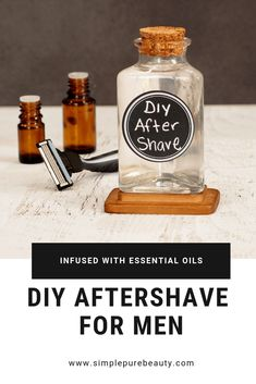 This DIY aftershave recipe for men is seriously so simple! Stop buying the aftershave at the store, and give this homemade aftershave recipe a try instead. It's simple, natural and will leave your man's face smelling amazing and not dried out! Essential Oil For Men, Oils For Men, Essential Oil Blends, Homemade Face Masks, Homemade Skin Care, Diy Skin Care, Homemade Products, Homemade Gifts For Men, Diy Gifts For Men