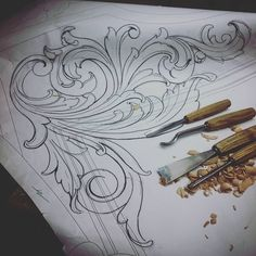 … Wood Carving Designs, Wood Carving Patterns, Wood Carving Art, Sculpture Art, Sculptures, Ornament Drawing, Filigree Design, Hand Embroidery Designs, Chalk Art