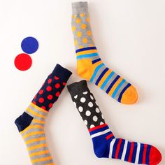 Brand Men Colorful Stripe Dots Bussiness Crew Socks Men's Happy British Style Cotton Dress Socks