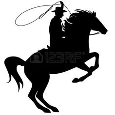 Illustration of cowboy throwing lasso riding rearing up horse - black silhouette over white vector art, clipart and stock vectors. Horse Silhouette, Silhouette Clip Art, Black Silhouette, Silhouette Cameo Projects, Horse Stencil, Stencil Art, Stencils, Tema Cowboy, Horse Outline