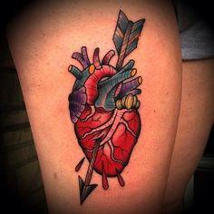 Arrow Through Heart Traditional Tattoo