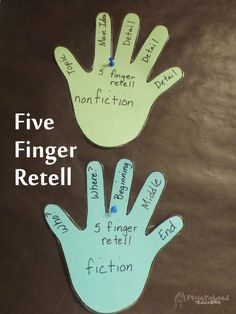 Five-finger retell! This is a simple way for students to remember how to write summaries. The teacher can hang these hands up in the classroom or students can simply use their own hands if they can't see the ones hung up. This lesson can be done by having students go through the five finger retell on a story they have previously read.