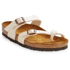 Birkenstock Mayari Slip-on Sandals ($95) ❤ liked on Polyvore featuring shoes, sandals, white, white slip on shoes, birkenstock shoes, slip on sandals, open toe shoes and pull on shoes
