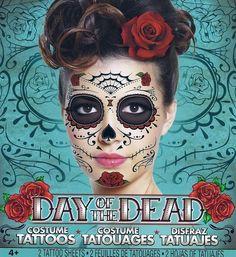 Day of The Dead Tattoos Sugar Skull Halloween Mask Costume Face 3 Full Sheets | eBay