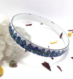 Your place to buy and sell all things handmade Bangle Bracelets, Bangles, Jewelry Collection, Vintage Jewelry, Enamel, Colours, Elegant, Gifts, Blue