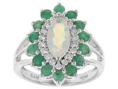.70ct Marquise Ethiopian Opal, .92ctw Round Sakota Emerald And .22ctw Round White Zircon Silver Ring