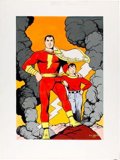 TO OWN A C.C. BECK CAPTAIN MARVEL PIECE, EVEN A RECREATION, WOULD BE SOOOOO SWEET!!!  Original Comic Art:Covers, C. C. Beck Whiz Comics #22 Captain Marvel and Billy BatsonCover Re-Creation Original Art (1976).... Image #2