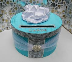Tiffany Blue Wedding Card Box Bling Mesh Ribbon by SweetJonesin My Wedding,The Big Day,Wedding,Wedding Ideas =), Bling Wedding, Card Box Wedding, Diy Wedding, Wedding Ideas, Trendy Wedding, Diy Card Box, Gift Card Boxes, Card Holder, Tiffany Party