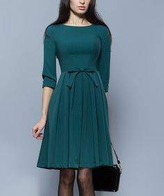 Look at this BGL Green Bow-Waist Pleated Dress on #zulily today!
