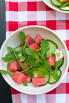 Watermelon, Cucumber, and Peppery Rocket: A light and refreshing summer salad.