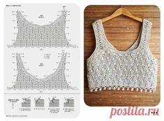 Hexagon Crochet Pattern, Crochet Yoke, Crochet Halter Tops, Crochet Stitches Patterns, Crochet Cardigan, Crochet Designs, Crochet T Shirts, Crochet Clothes, Crochet Pincushion