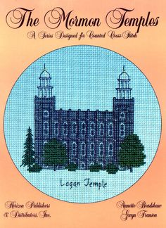 This leaflet contains a counted cross-stitch pattern and detailed instructions of the temple located in Logan, Utah. The design size is 68 x 70 squares.