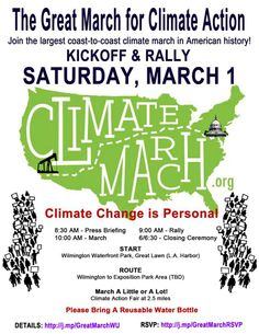 THE GREAT MARCH FOR CLIMATE CHANGE SOUTHERN CALIFORNIA March 1st. http://www.wilderutopia.com/politics/great-march-for-climate-action-kick-off-in-los-angeles-march-1st/ …