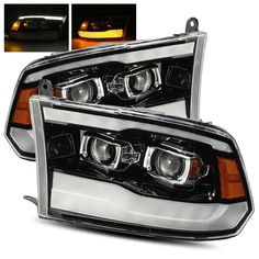 For 09-18 Ram 1500/10-18 2500/3500 Polished Black DRL Dual Projector Headlights #RacerInnovation