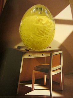 The color of yellow with bubbles are remarkable. we believe that is Murano glass egg from Italy , and we are calling it Golden Egg. the base is covered with green felt and is in excellent condition. I