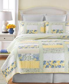 Martha Stewart Collection Blue & Yellow Patchwork Posey Quilts