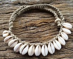 Handmade Hemp Macrame Necklace with Cowrie by MustangAndSally