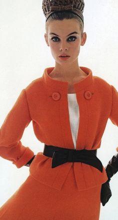 Jean Shrimpton in Vogue UK, March 1963. Photo: David Bailey. Suit: Dior, Spring 1963.