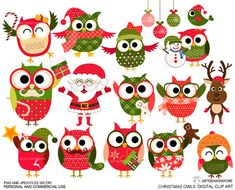 Christmas owls Digital clip art for Personal and Commercial use - INSTANT DOWNLOAD @Collene Watson