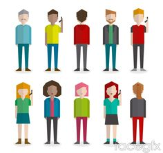 10 blank flat character design vector