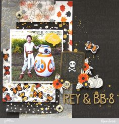 Scrapbook memories of your children in their halloween costumes with this Rey & BB-8 layout by @reneezwirek using the #MidnightHaunting collection by @pebblesinc #Sponsored