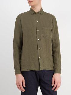 Gemma point-collar linen shirt | The Gigi | MATCHESFASHION.COM US Denim Button Up, Button Up Shirts, Point Collar, Khaki Green, Collar Shirts, Purchase History, Shirt Dress, Sweaters, Mens Tops