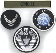 Stargate SG-1 TV Series O'Neill Uniform Logos Patch Set of 4, NEW UNUSED