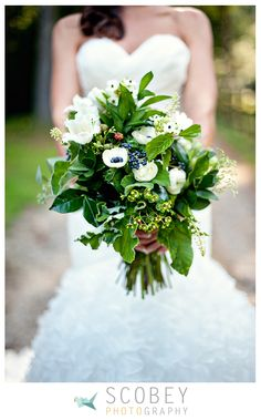 LOVE the green, and anemones and wax!
