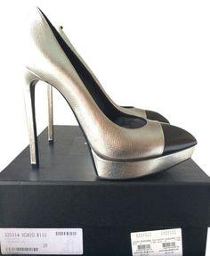 4370889eec0 Saint Laurent $825 Ysl Janis Cap Toe Metallic Platform 39 Nib Silver Pumps.  Get the