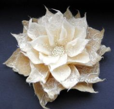 Vanilla Milk Cream Felt Flower Brooch, superfine Merino wool brooch is decorated with small glass beads.by Brigite Re