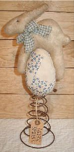 Bunny egg pattern from sew primitive shoppe...cute make do on rusty bed spring