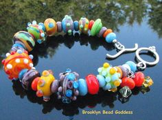Lampwork Bracelet Handmade Glass Beads Handcrafted Artisan Jewelry SRAJD