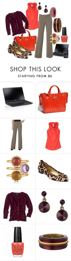 """Wild World of Work"" by pinkice ❤ liked on Polyvore featuring Brahmin, Ellen Tracy, Mia & Beverly, Kate Spade, MOOD, OPI, Alexis Bittar, Jamie Joseph, animal print and ballet flats"