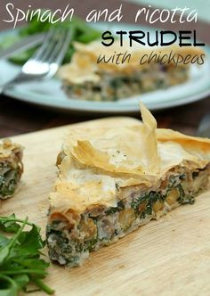 Spinach and ricotta strudel with chickpeas - a creamy vegetarian pie with…