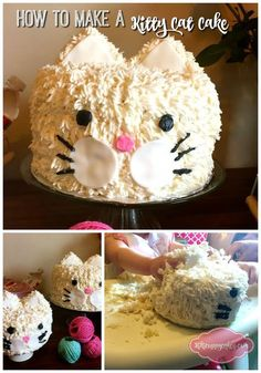 Step by step instructions on how to turn a boring cake into a fun kitty cat cake using buttercream, rice crispy treats, and fondant.