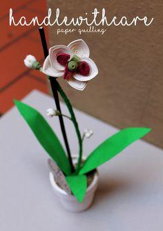 Orchidee di carta realizzate con la tecnica del paper quilling