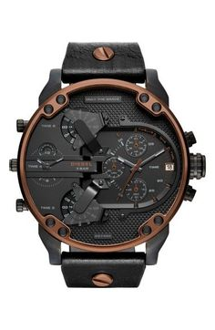 e802001b109 DIESEL Mr. Daddy 2.0 Chronograph Leather Strap Watch