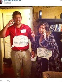 Jake from State Farm Halloween costume and the jealous wife in the commercial. Advertisements Jake from State Farm Halloween costume and the jealous wife in the commercial. Halloween 2018, Punny Halloween Costumes, Diy Halloween Costumes, Family Halloween, Halloween Crafts, Farm Costumes, Pun Costumes, Funny Couple Halloween Costumes, Woman Costumes