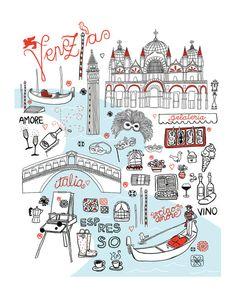 Mappa di Venezia by Holly Graham Etsy: troppo carina! Venice Map, Venice Travel, Italy Travel, Venice City, Italy Illustration, Travel Illustration, Travel Maps, Travel Posters, City Maps