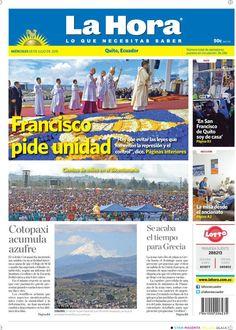 """Acá nuestra portada de hoy, 08 de julio del 2015. Tema destacado:  """"Francisco pide unidad""""."""