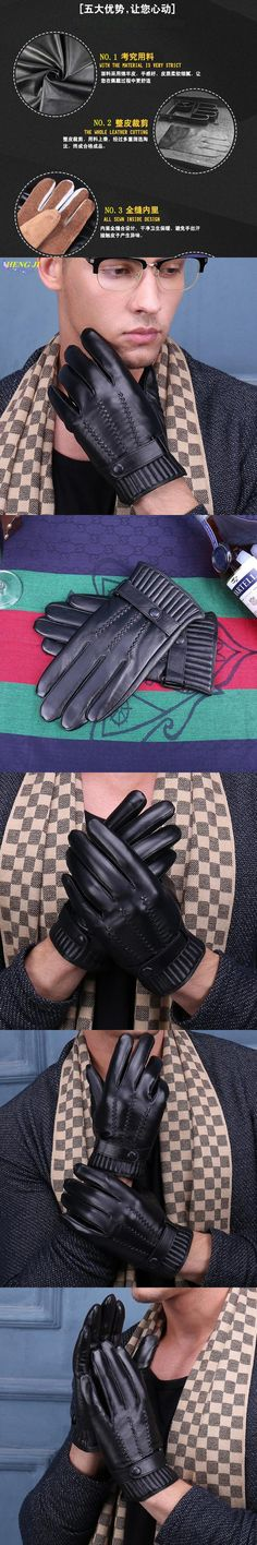 The new 2017 men's leather gloves in winter warm warm sheepskin gloves and hair thickening high quality soft men driving gloves
