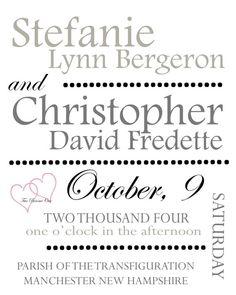 Custom Wedding Typography Keepsake by stefne6 on Etsy, $15.00
