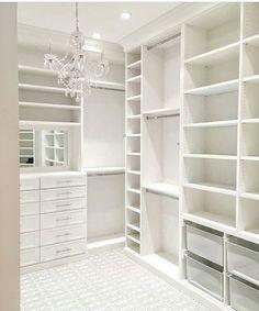 45 Brilliant Closet Organization Ideas - Page 2 of 45 - VimDecor closet designs; Master Closet Design, Walk In Closet Design, Master Bedroom Closet, Closet Designs, White Bedroom, Master Closet Layout, Closet Rooms, Small Master Closet, Glam Closet