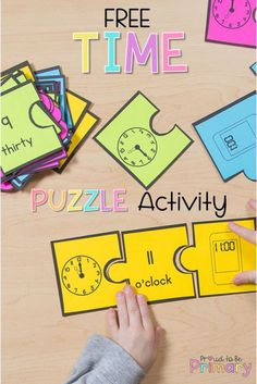 Grab the free telling time activity where kids match analog clocks, digital clocks, and written time representations together in a puzzle. Find this freebie and more activities to teach kids how to tell time and understand the clock. #teachingtime #tellingtime #kindergartenmath #firstgrademath #secondgrademath #timeactivities