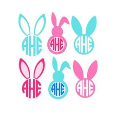 Easter Bunny Svg, Easter Bunny Monogram Svg, Circle Monogram Frames Svg, Cricut Cut Files, Studio Cut Files
