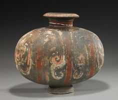 """Chinese Han Dynasty Pottery """"Cocoon"""" Vase : Lot 309"""