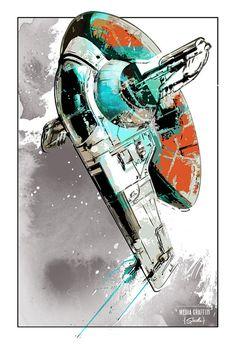 Star Wars, Boba Fett, Slave 1 bounty hunter starship - Geekery fan art illustration - poster size art print available in multiple sizes