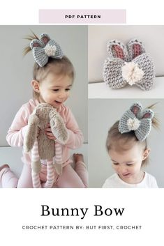crochet bow pattern This listing is for the PDF pattern to make a crocheted Bunny Bow, not the finished product. The Bunny Crochet Bow is a simple, quick, beginner friendly pattern. Crochet Bows Free Pattern, Crochet Patterns For Beginners, Easy Crochet Patterns, Crochet Hooks, Free Crochet, Knitting Patterns, Tunisian Crochet, Holiday Crochet, Easter Crochet